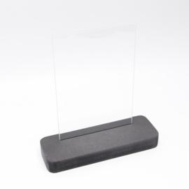 plankje zwart smal met glazen plaatje