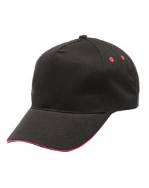 zwarte pet met roze bies