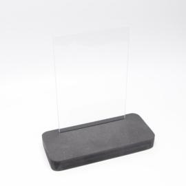 plankje kort breed zwart met glazen plaatje