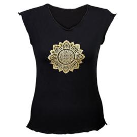 Yoga T-shirt 'Mandala print' Zwart