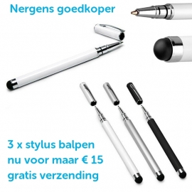 3 x stylus balpen met dop