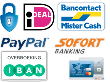 Veilig betalen via Mistercash, ideal, paypal overboeking en creditcard