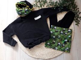 wijd vallende sweater kabel zwart