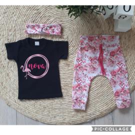 shirtje met flamingo en naam opdruk