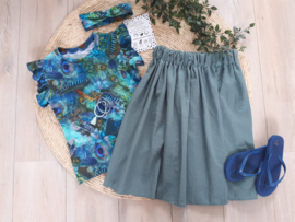Midi skirt glitter old green