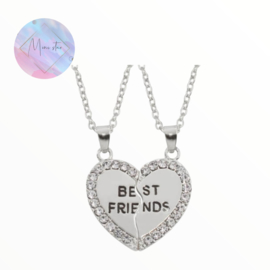 Set BFF kettingen hart diamantjes