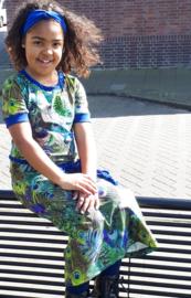 Maxi jurk pauw kobalt