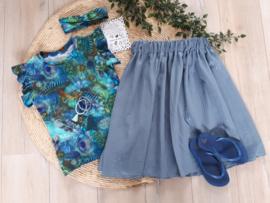 midi skirt glitter dusty blue