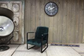 Industriële fauteuil zwart velvet stof
