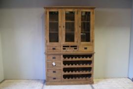 Teakhouten wandkast met wijnrek 140 cm