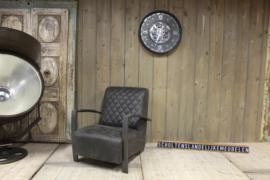 Industriële fauteuil geschuurd leer antraciet