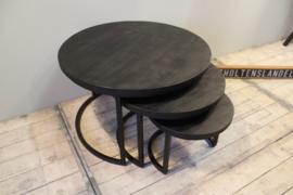 Mangohouten salontafel set van 3 ZWART
