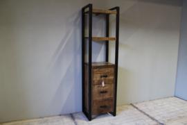 Mangohouten boekenkast met lade 55 cm