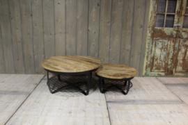 Industriële set salontafels rond