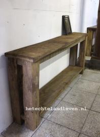 Oud eiken side table  met onderblad 176 cm breed 0105