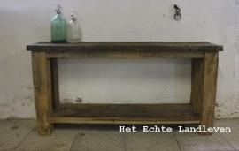 Oud Eiken side table / met onderblad  0103