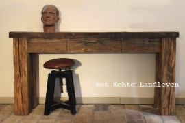 Handmade : Oud eiken Stoer handgemaakte Side Table met lade 0101