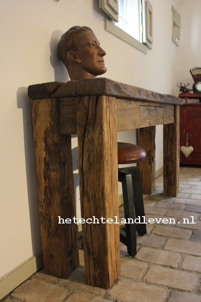 Side Table Oud Eiken.Oud Eiken Stoer Handgemaakte Side Table Met Lade 0101