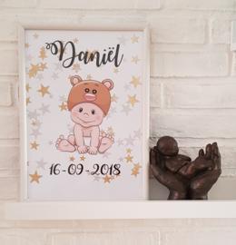 Poster Babybeer met naam en geboortedatum