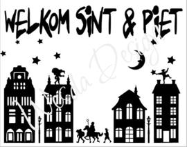 Huisjes Sticker Welkom Sint en Piet