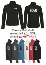 Softshell dames met naam/logo