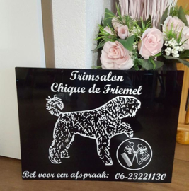 Trimsalon reclamebord met foto
