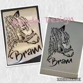 Sticker Pony met naam 50x30 cm