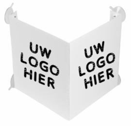 V bord raam met eigen logo