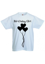 Tshirt Birthday Girl zwart/wit