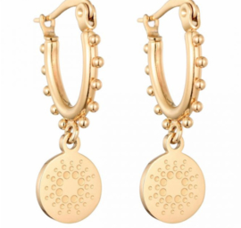 Earrings Dots Coin - Gold