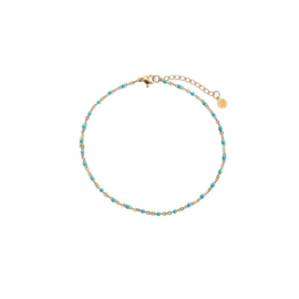 Ankle Bracelet Dots - Gold/Blue