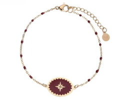Enamel Bracelet Star - Dark Red