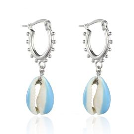 Earrings Dots Shell - Silver