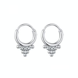 Earrings Dots Triangle - Silver
