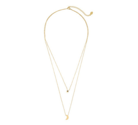 Moon & Star Necklace - Gold
