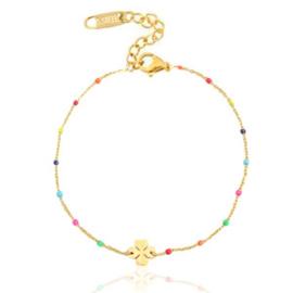 Bracelet Clover Rainbow - Gold