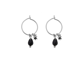 Stone & Star Hoops - Silver