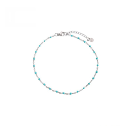 Ankle Bracelet Dots - Silver/Blue
