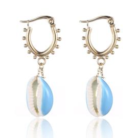 Earrings Dots Shell - Gold