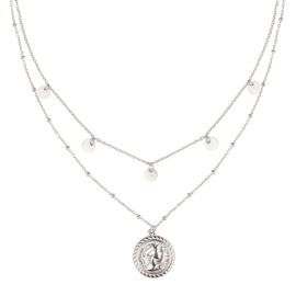 Necklace Layerd Reina & Dots - Silver