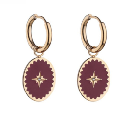 Enamel Earrings Star - Dark Red