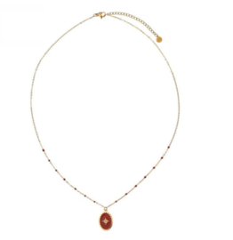 Enamel Necklace Star - Dark Red