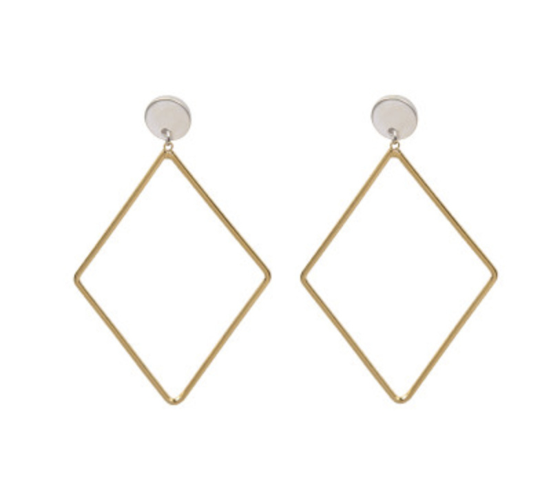 Square Statement Earrings - Gold/Silver