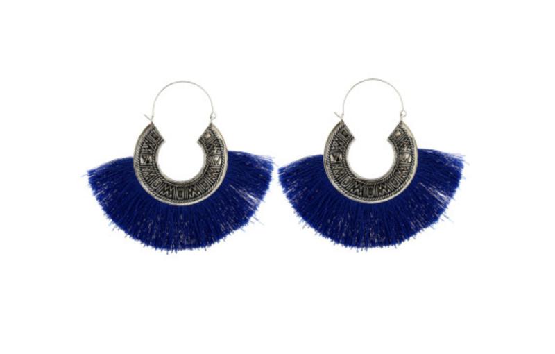Tassel Hoops - Blue