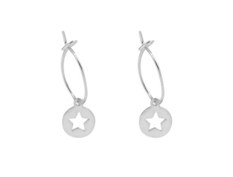 Star Hoops - Silver