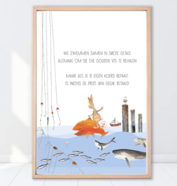 Gein Konijn poster 'Gouden vis'
