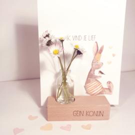 Gein konijn 'Ik vind je lief' (incl. houten kaartenhouder en glazen vaasje)