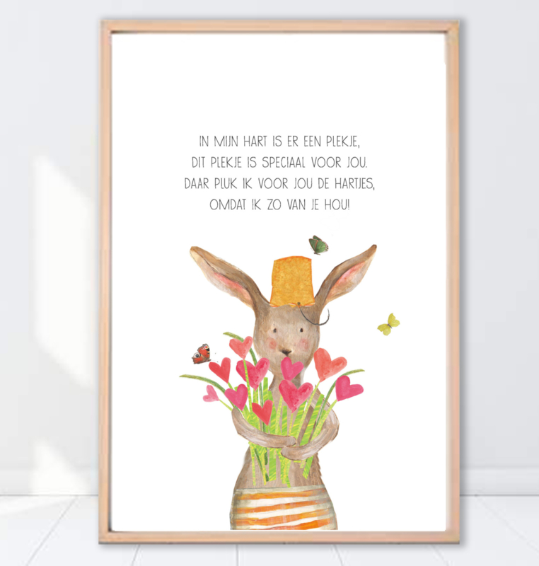 Gein Konijn poster 'Pluk de hartjes'