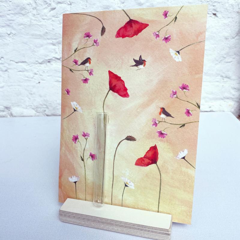 Birdy roodborstjes kaart met mini vaasje