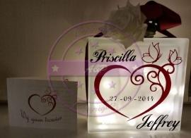 Glasblok met trouwkaartje (sticker)